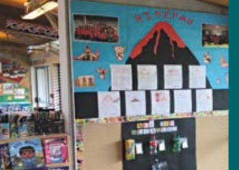 A classroom wall showing children's books and writing under a bulletin board with a paper volcano