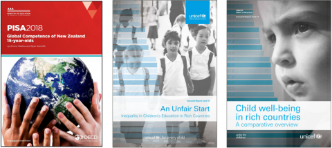 Three images of publications by the Minstry of Education and Unicef