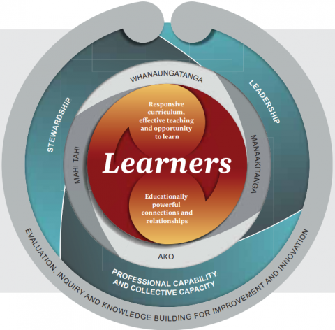A circular diagram representing the evaluation indicators framework with the Learners at the centre.